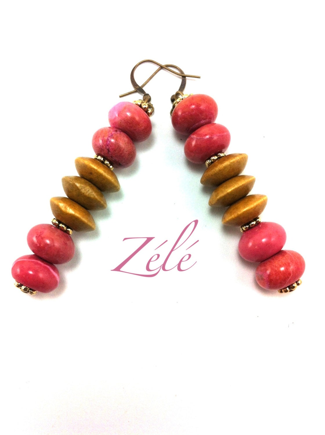 Pink Agate and Wood Stacked Earrings