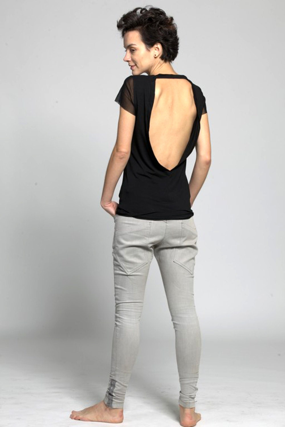 Top with open back, Black womens top, Short sleeve Basic T - ColeHands