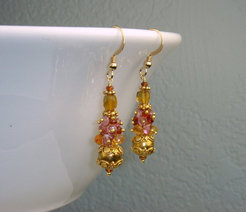 Citrine, Sapphire, Pink Topaz and Gold Bead Earrings