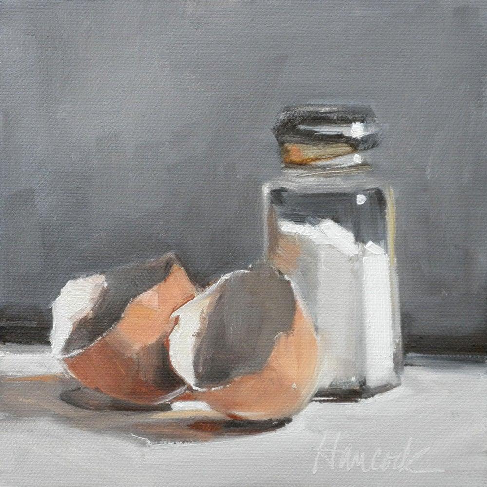 Salt Shaker Two Eggshells on Gray - gretchenhancock