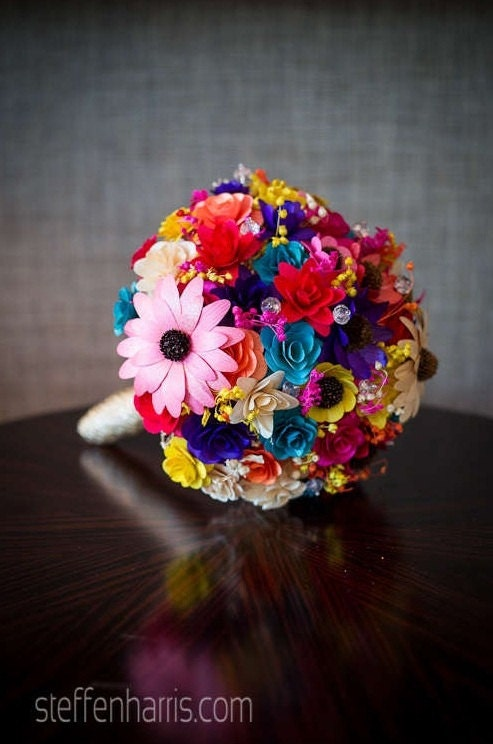 Colorful Wooden Bouquet for Wedding and Home Decor Centerpiece