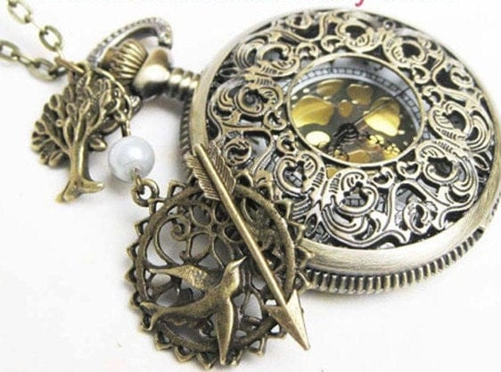 The Hunger Games Inspired Arrow,Mockingjay,tree and Pearl Victorian pattern golden dial Pocket Watch locket Necklace