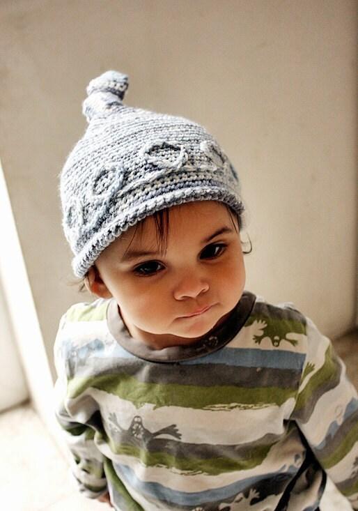 3 to 6m Baby Boy Hat Blue Baby Knot Hat Elf Beanie Photo Prop - Crochet Boy Elf Hat Roll Brim Hat Infant Photography Prop - BabaMoon