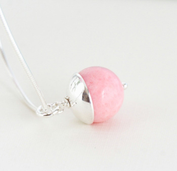Pink Coral Necklace, Sterling Silver Necklace - Stunning Simplicity, Dreamy