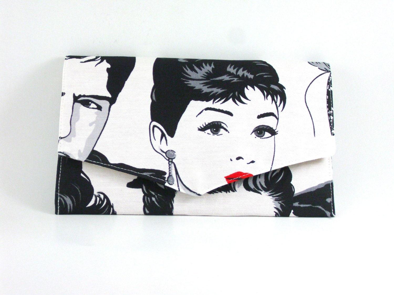 Cotton Fabric  clutch, retro design25% off till 14th February 2013. Coupon code: VALENTINES - HirasuCraft