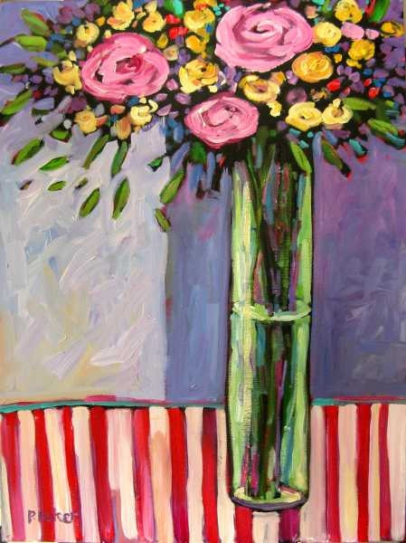 Floral Still Life with Striped Tablecloth FREE SHIPPING
