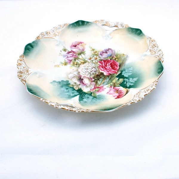 Antique Serving Plate Platter R S Prussia Ornate Floral - RosaMeyerCollection