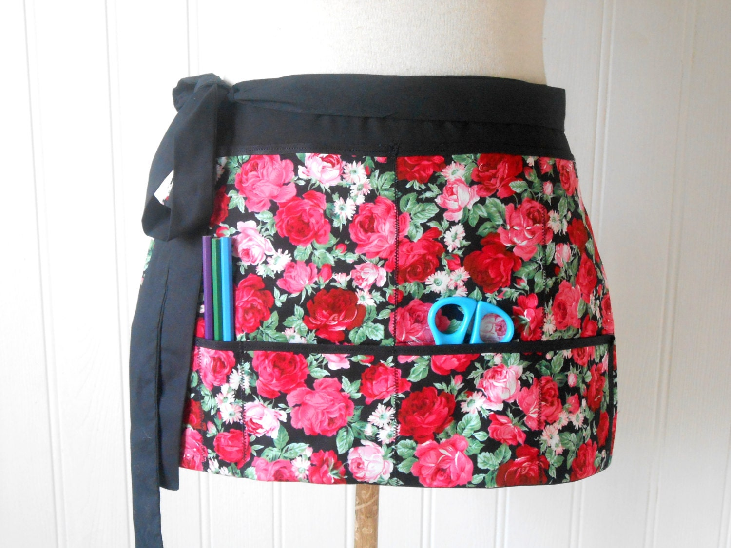 Floral red utility vendor market craft apron makeup artist, hairdresser, teacher READY TO SHIP