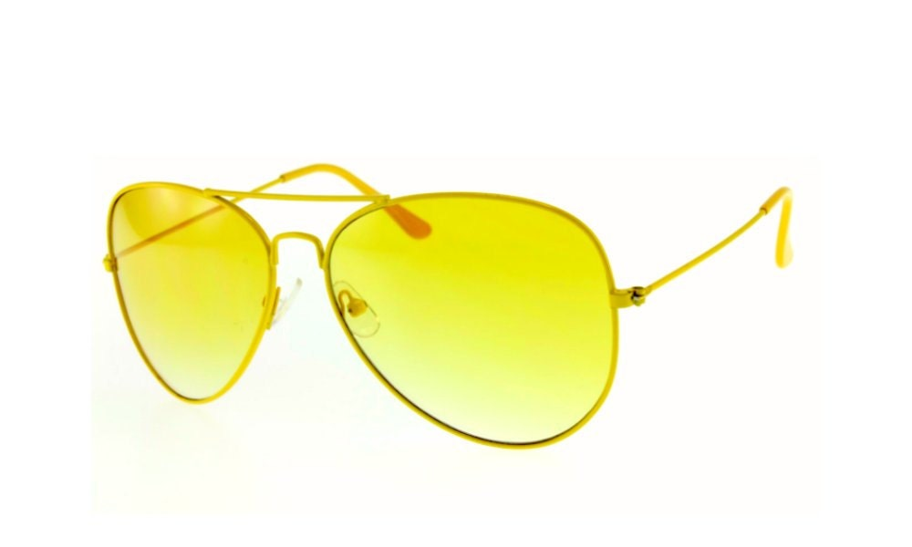 Vintage Aviator Sunglasses Deadstock Yellow Aviators Spring Summer Unisex