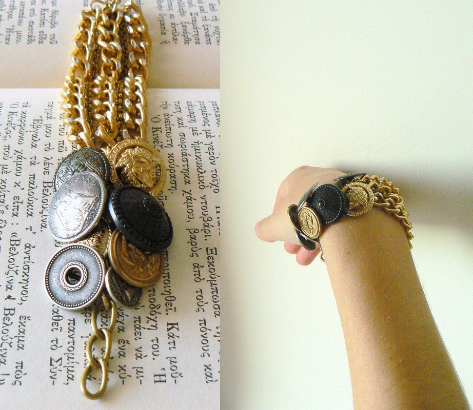 Sailing To Byzantium - Estate Resort Style Brass Tone Bracelet, Gold Chains and Vintage Metal Buttons