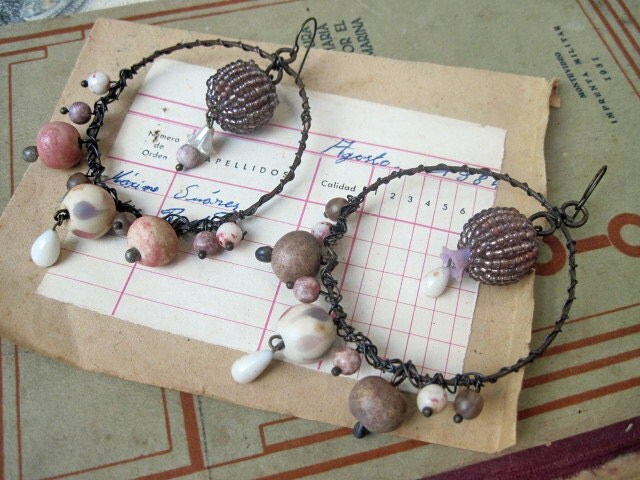 I Myself Have Gone Blind. Rustic Gypsy Assemblage Hoops with Ceramic Beads.