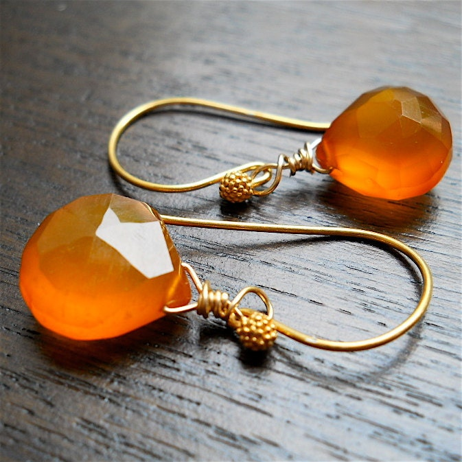 orange chalcedony drop earrings in gold vermeil
