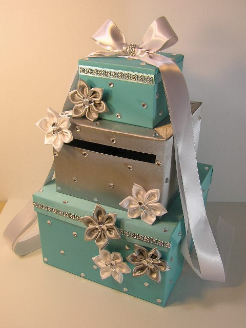 Tiffany and Silver Wedding Card Box Gift Card Box Money Box HolderCustomize