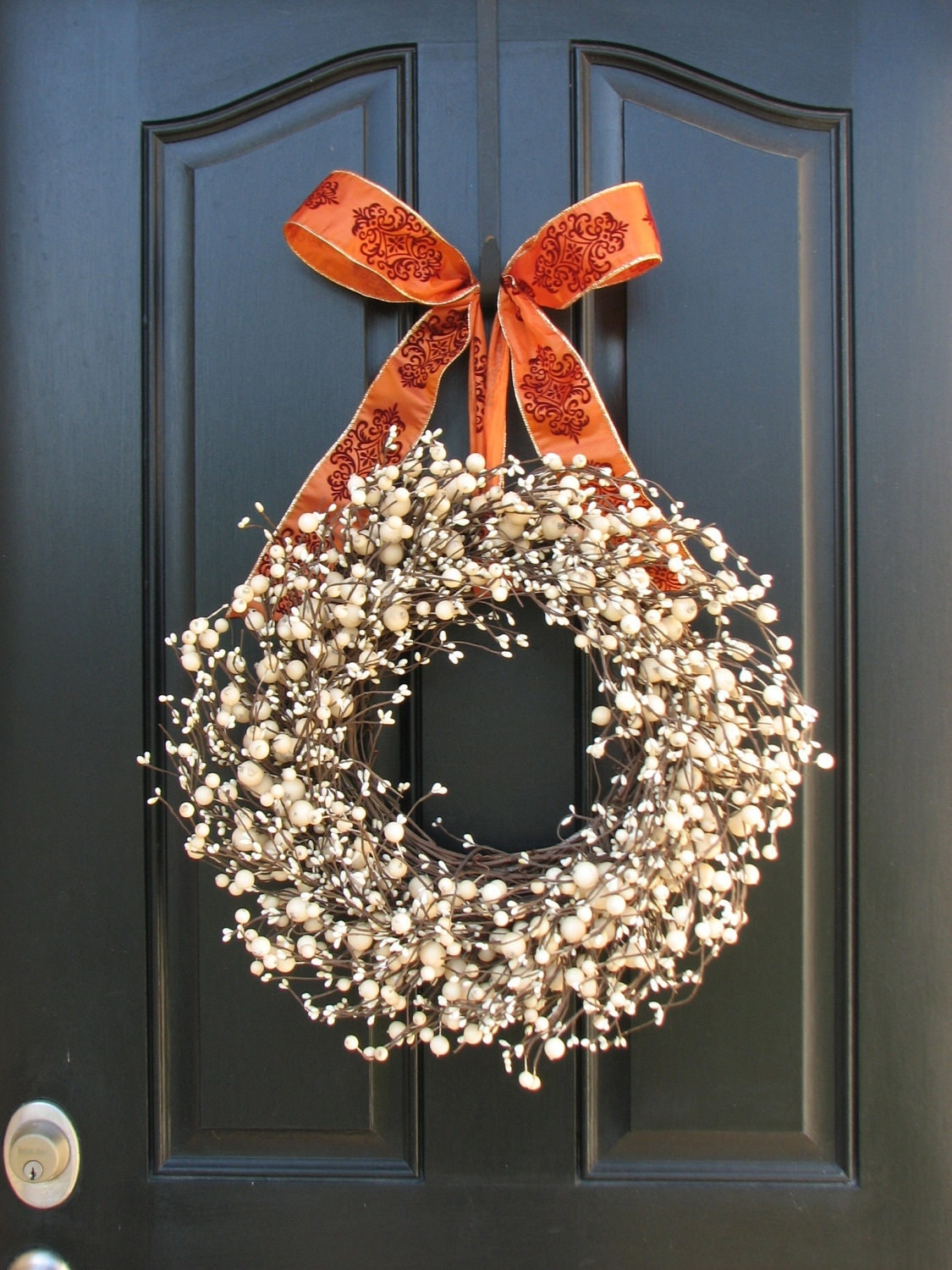 Thanksgiving Wreath for Front Door Decor - Festive Sugar Cream Pie Berry Wreath