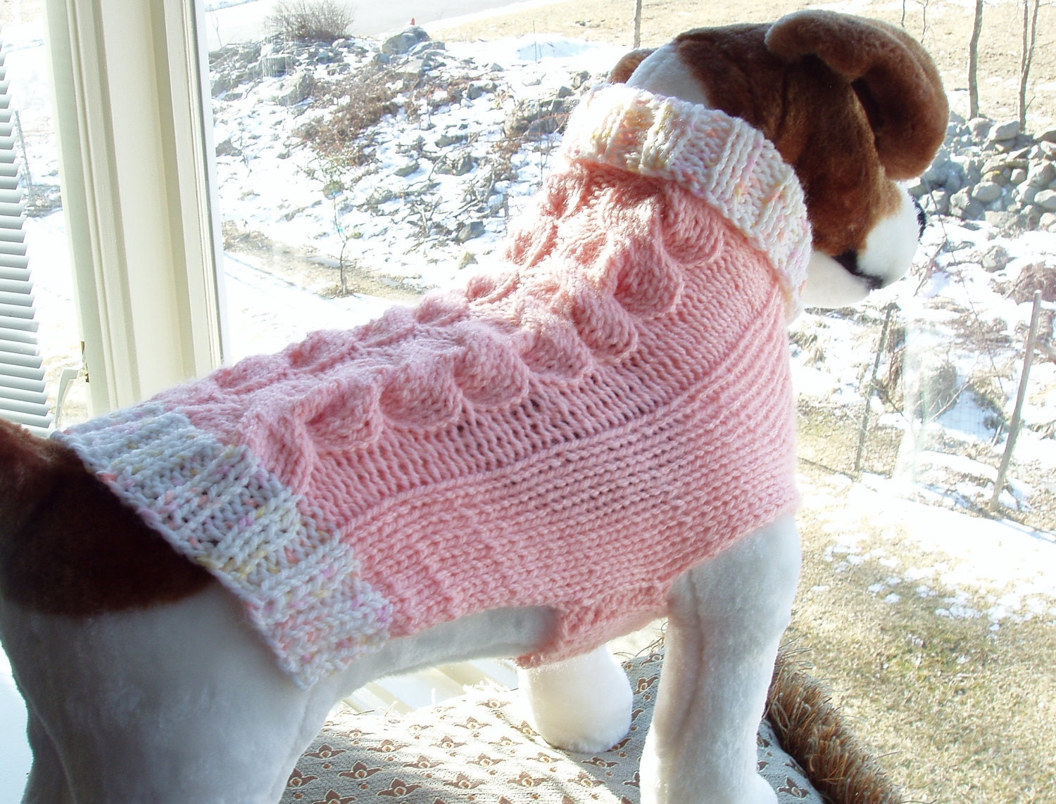 Dog Sweater Hand Knit Mia Cable Medium VALENTINE SALE - jenya2