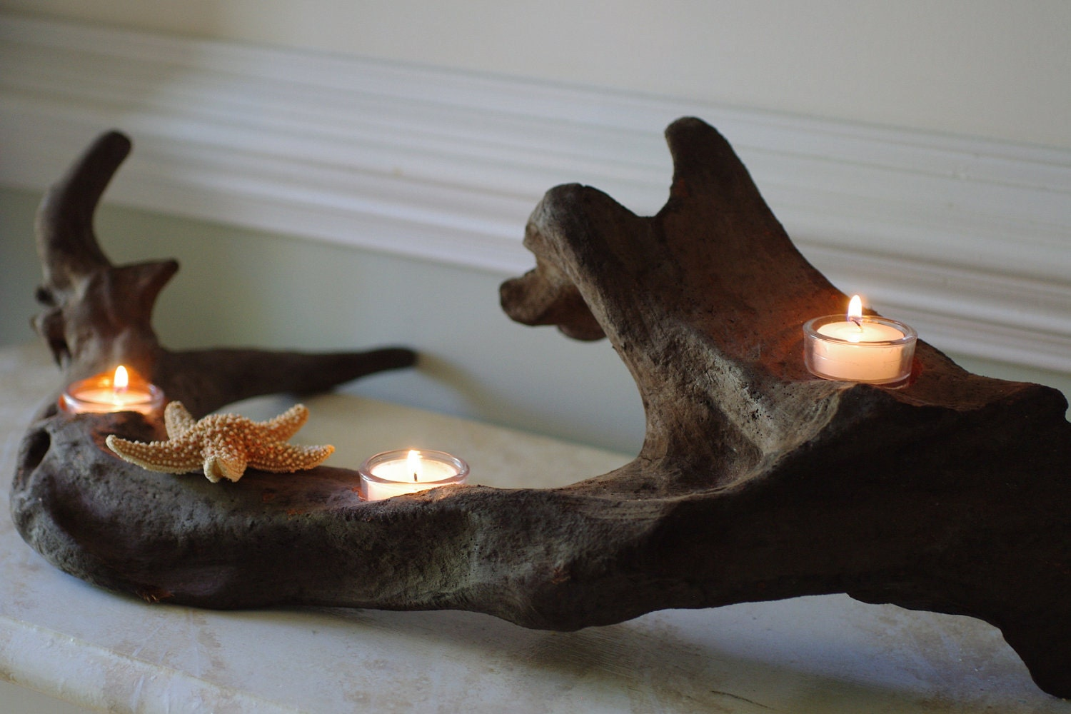 Three Votive Driftwood Candle Holder with Sugar Starfish