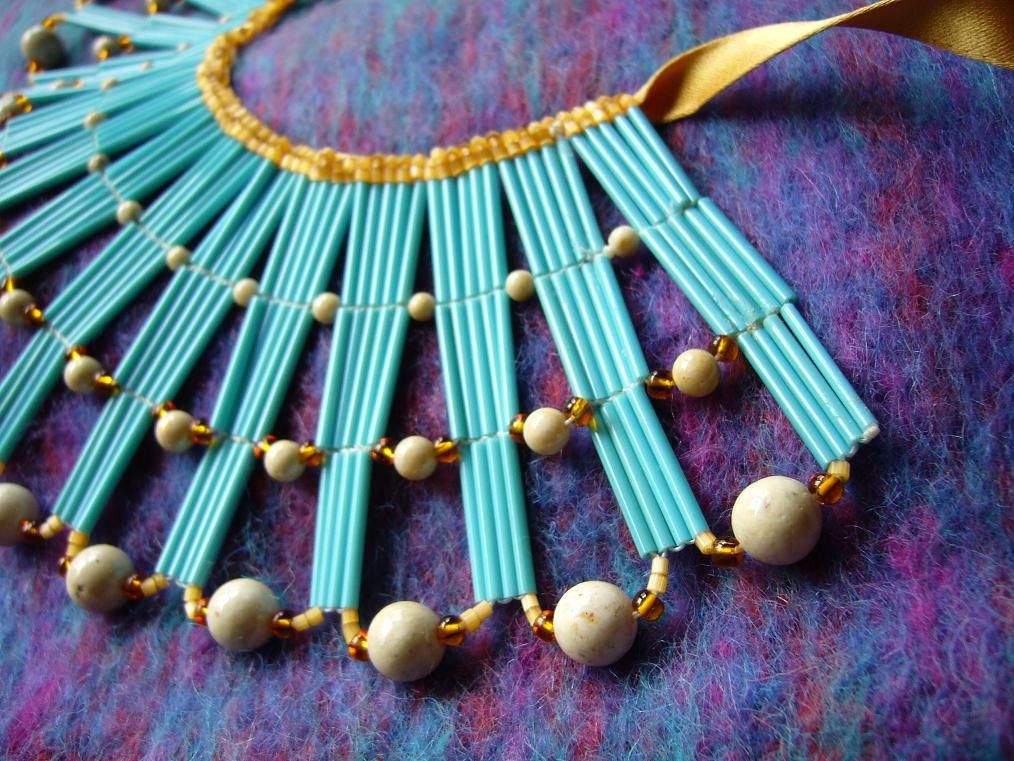 Exquisite Vintage Turquoise Bugle Bead Egyptian Cleopatra Collar Necklace