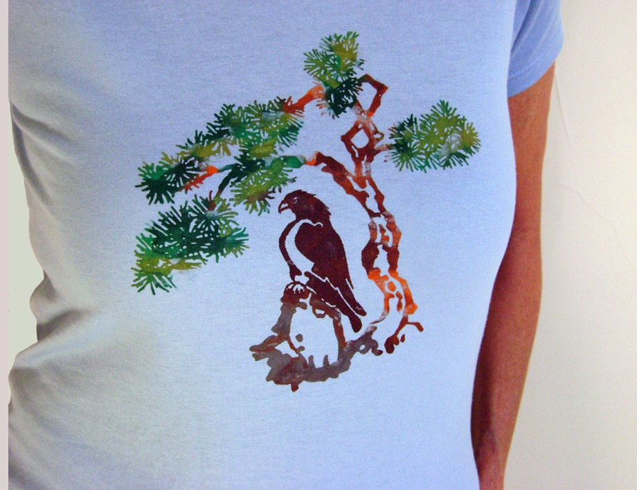 Ladies Tshirt, Blue, Hawk and Pine Tree MonoPrint