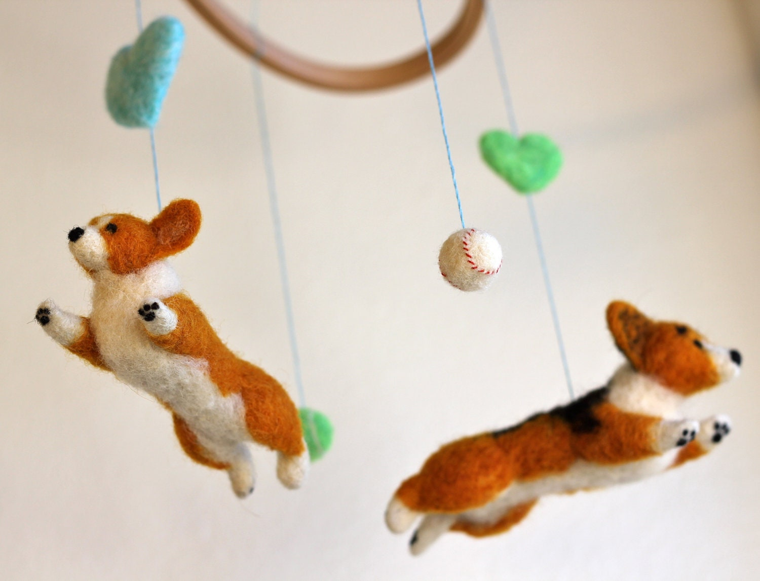 Baby Mobile with Flying Welsh Corgis (with 2 balls & hearts)