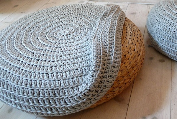 Crochet stool cover - silver Grey
