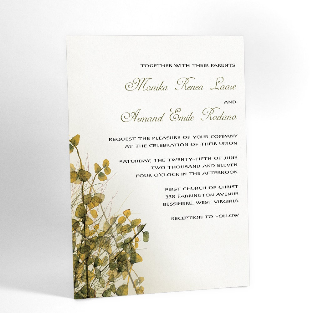 Woodland Wedding Invitations with Watercolor Imagery of Leafy Brush, Winter Wonderland Wedding, Blue and White, Other Colors Possible