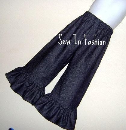 Indigo Denim Ruffled Pants By Sew In Fashion....Size 6 12 18 24 month 2T 3T 4T 5T 6yr 7yr