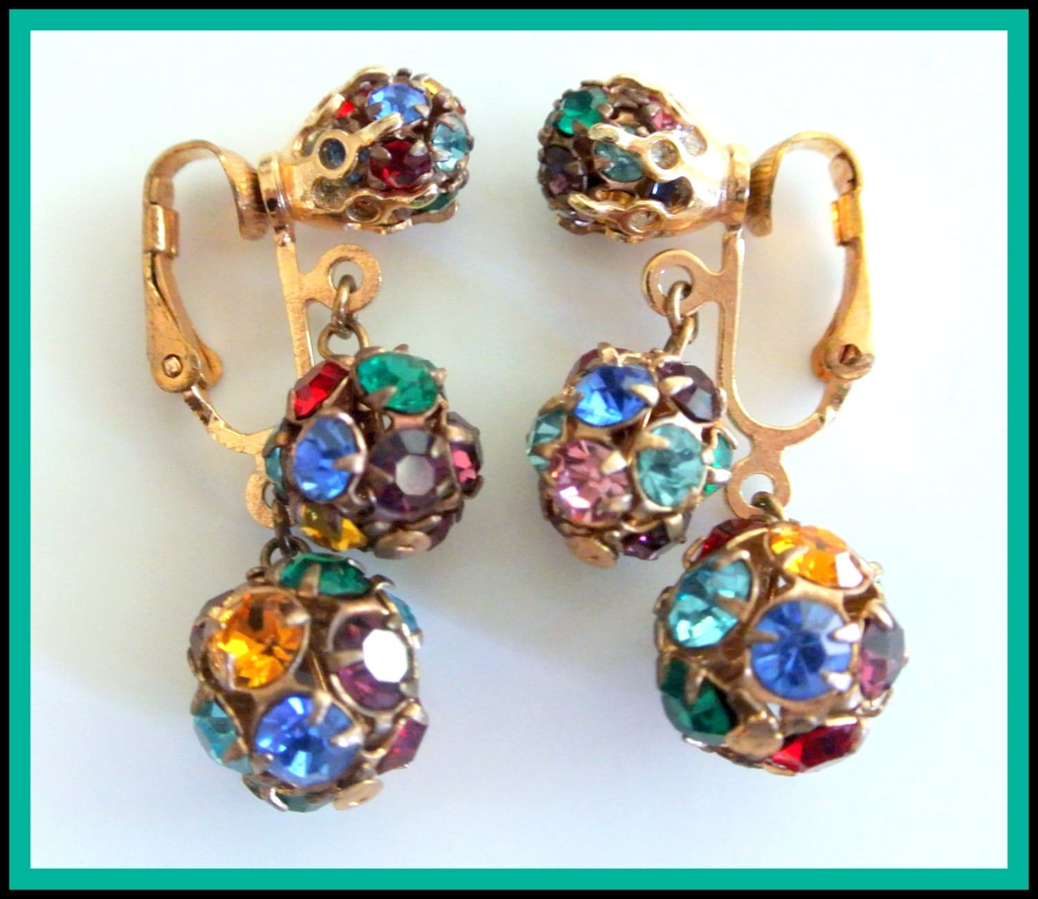 Vintage Multi Colored Rhinestone Ball Earrings - VintageObjectsShoppe