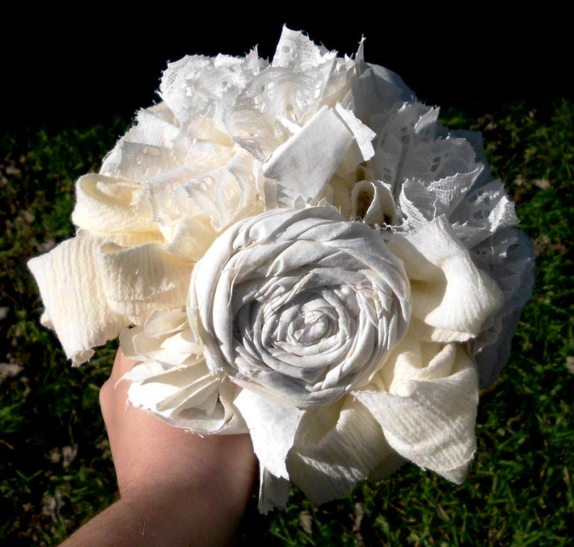 Bridal Bouquet, Vintage inspired, Cotton and Lace Cream Ivory Fabric Flower Bouquet, weddings