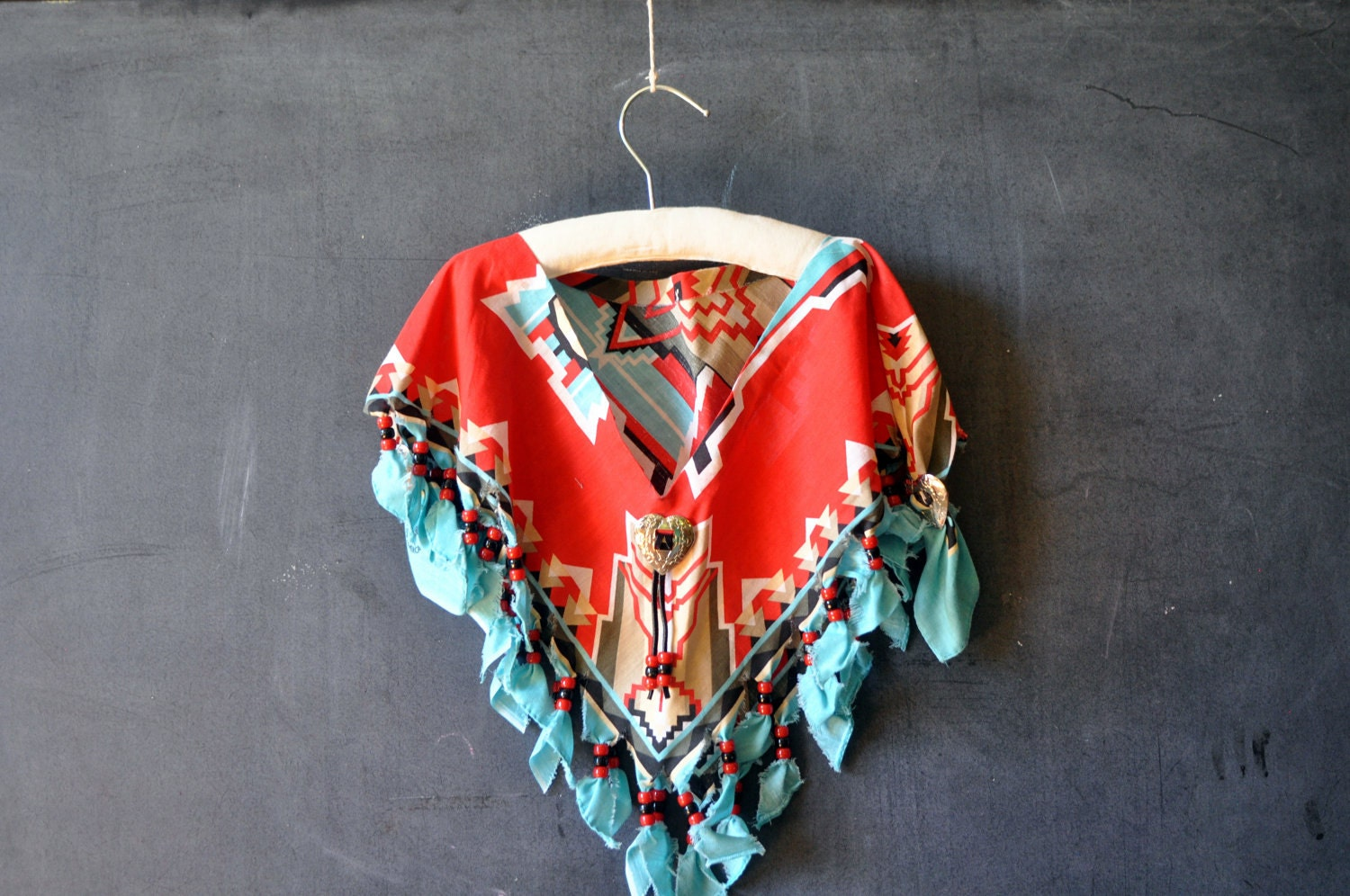 handmade southwestern shawl/cover-up/vest, red, tan and turquoise, handkerchief - LaDiDottie