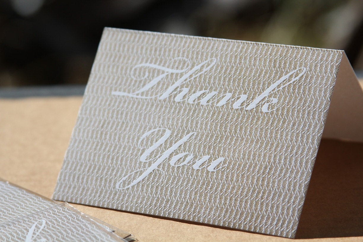 Thank you, gold leaves - WishboneLetterpress