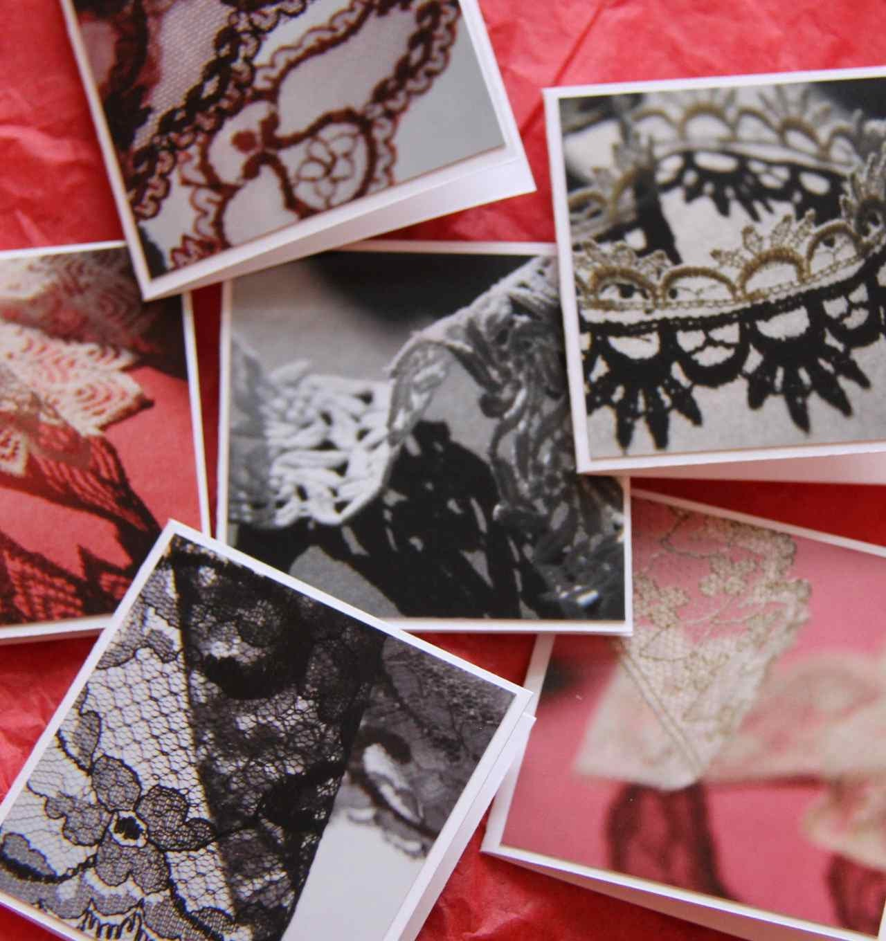 Vintage lace mini photo cards set of 6 mini - SandrasCardShop