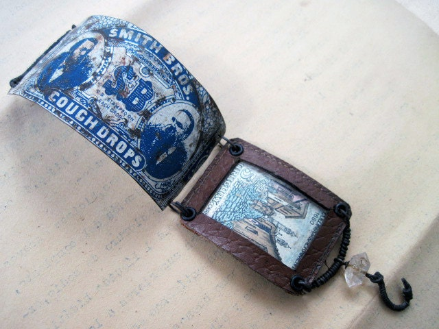 Social Order. Victorian Gypsy Recycled Rustic Tin Cuff Leather Stamp.