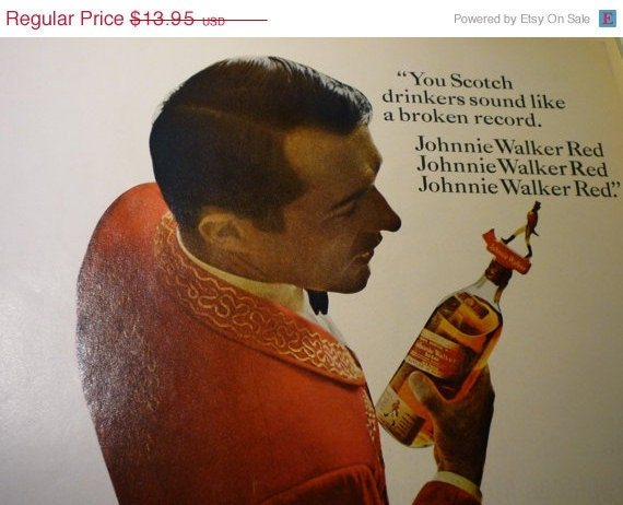 SALE Vintage Advertisement  . .  Johnny Walker Red .. Mad Men lifestyle . .Original 1960s ad