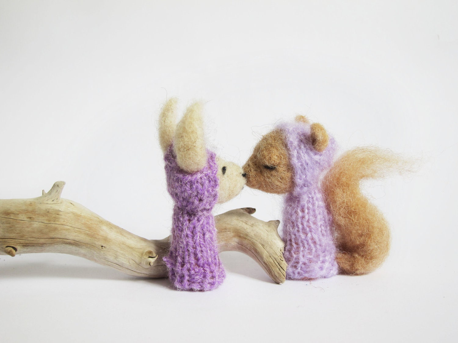 FINGER PUPPET BOX Needle Felted Lilac Squirrel and Bunny in a Vintage Shadow Box, Children, Eco Friendly Toy, Wall Hanging Nursery Art - LazyAnimals
