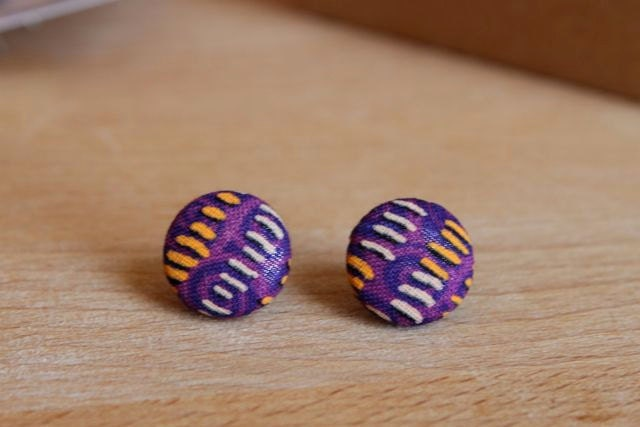 Purple Stripes Tribal Pattern Fabric Button Earrings