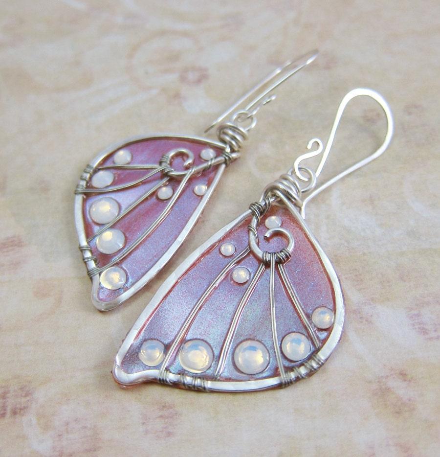 Sidhe Wings Earrings - Experimental Wings in Aurora Duochrome - Iridescent Fairy Wing Earrings