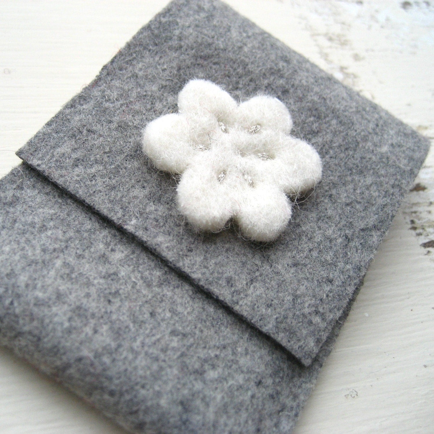 Grey Felt Card Holder/Wallet with White and Silver Flower