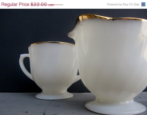 Sale Fire King Creamer and Sugar Milk Glass Shell Pattern with Gold Trim - Modred12