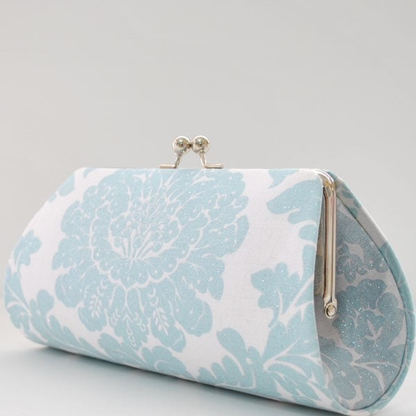 Delovely Damask in Breeze by Michael Miller..Large Clutch Purse