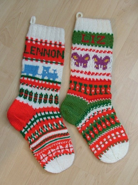 Hand-knit Christmas stocking, personalized with name and year