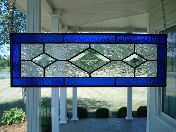 Stained Glass Deep Blue & Beveled Diamond Window Panel - TheGlassShire