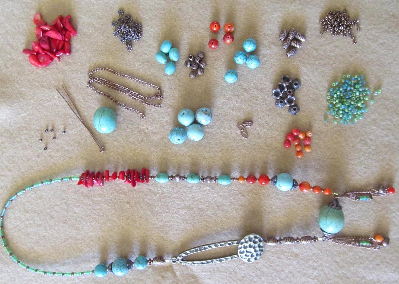 Turquoise and Coral Dangle Necklace Kit, Southwestern Jewelry, Bohemian Necklace kit, Gemstone Jewelry, Jewelry Supply - LenniesBeadDrawer