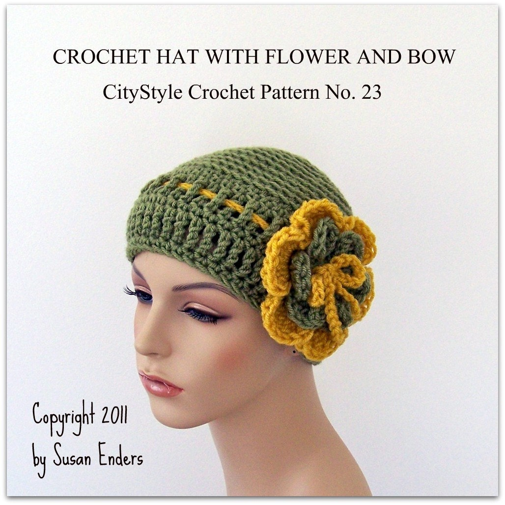 Crochet Pattern Hat Pattern with Crochet Flower and by ...