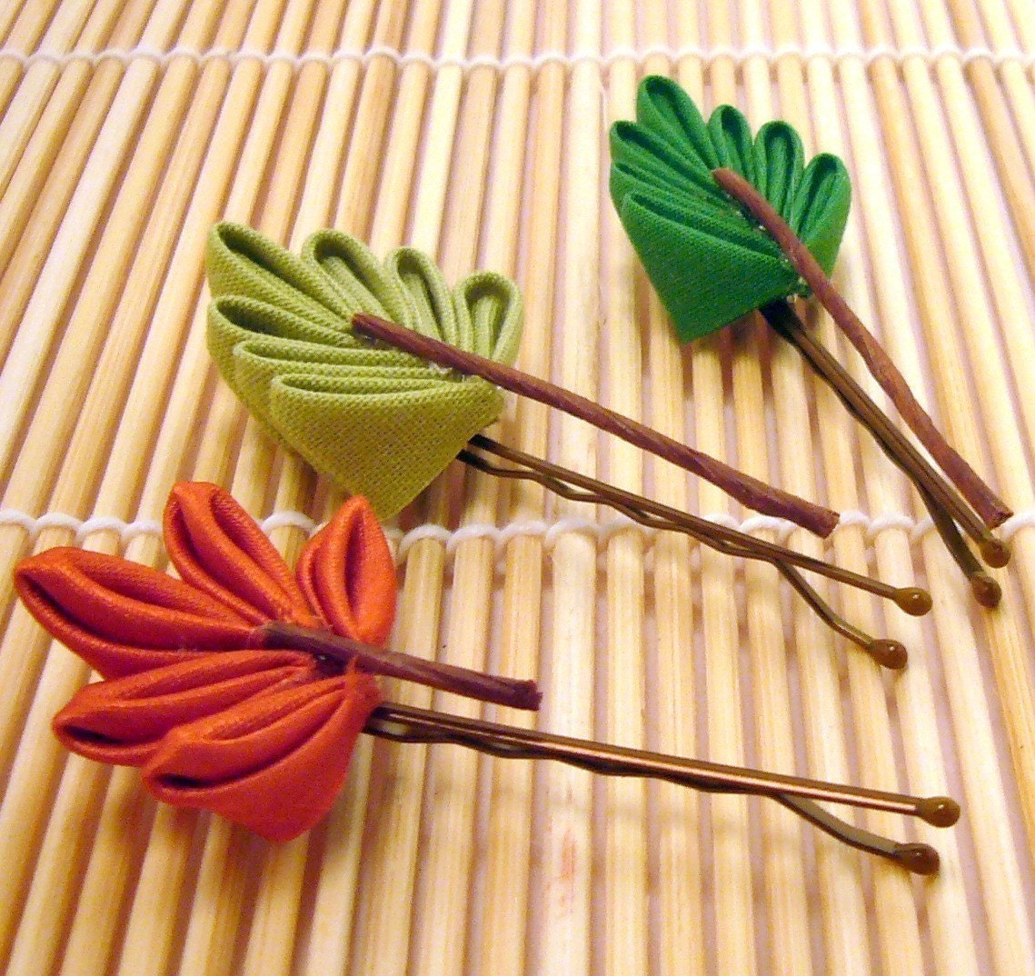 Three Seasons Leaf Japanese Kanzashi Hair Set - sakuradancer