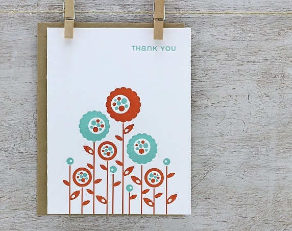 Flower Garden Letterpress Greeting Card - Thank You Note Cards - Rust Orange, Aqua Blue, Spring, Retro - 3 Pack (GTY03)