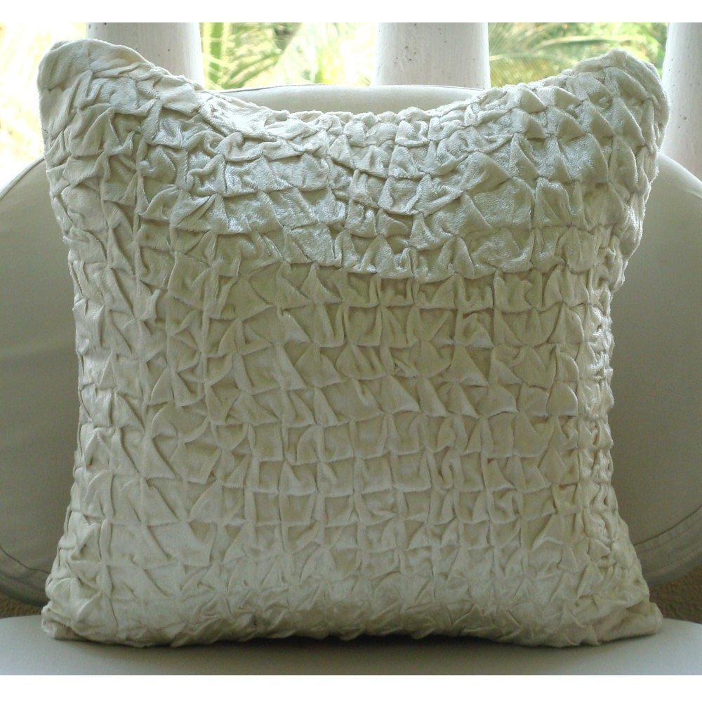 Snow Soft - Throw Pillow Covers - 16x16 Inches Pillow Cover in Ivory White Velvet