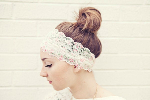 READY To SHIP Dainty Pastel WIDE Stretch Lace Headband for that special event