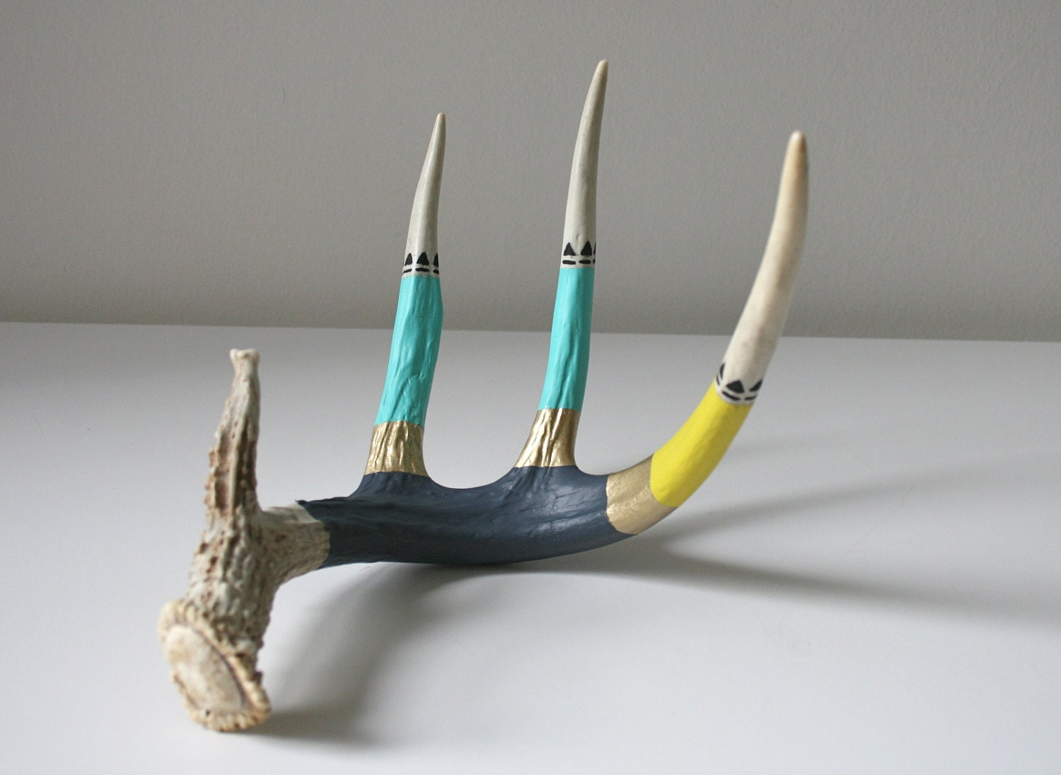 Teal Navy and Yellow Antler - boxofhollyhocks