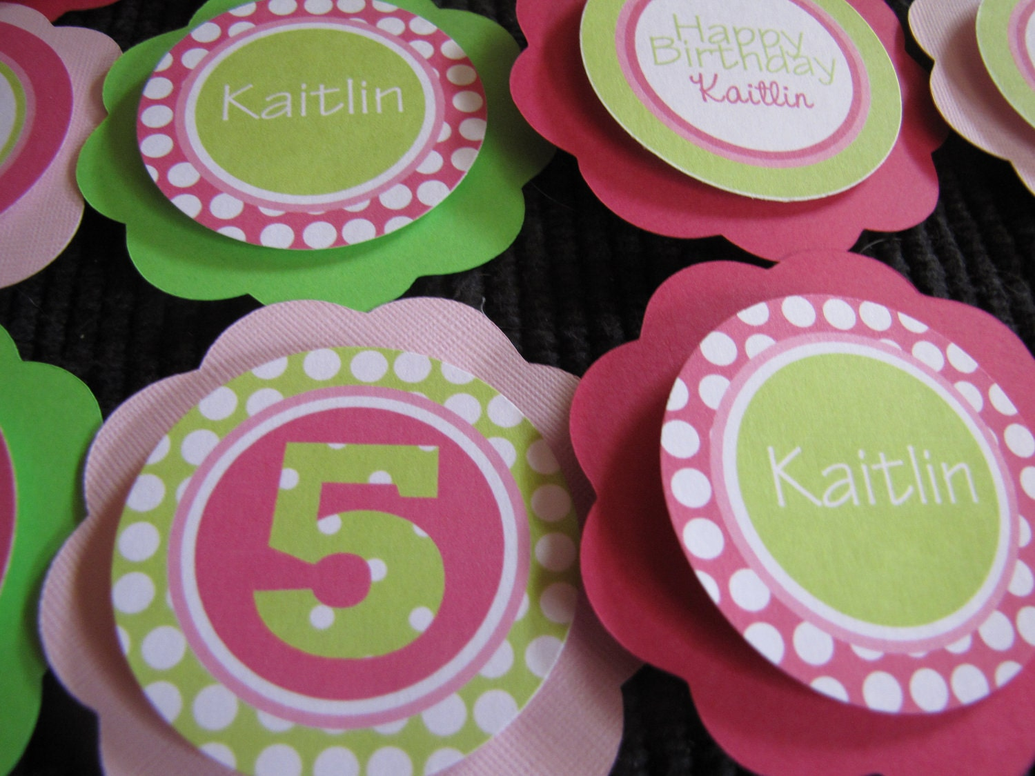 Hot pink and Green Cupcake Party Picks - designgirl16