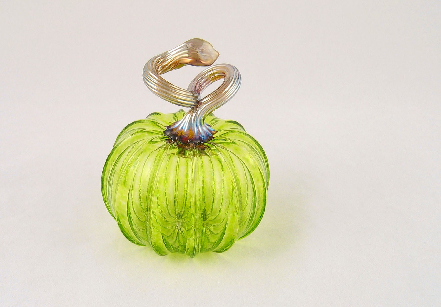 Transparent Green Glass Pumpkin Autumn Fall Decor Pumpkin Art by AvolieGlass - AvolieGlass